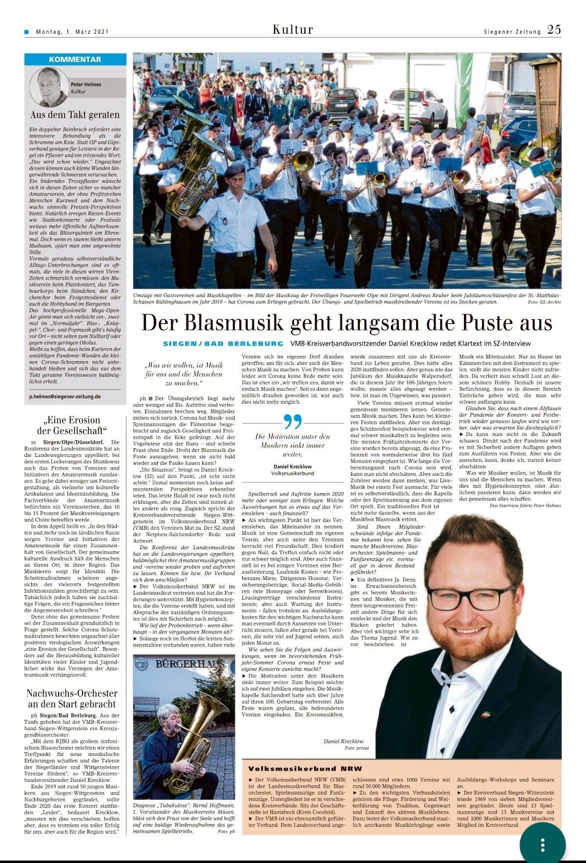 Quelle: Siegener Zeitung 01.03.2021